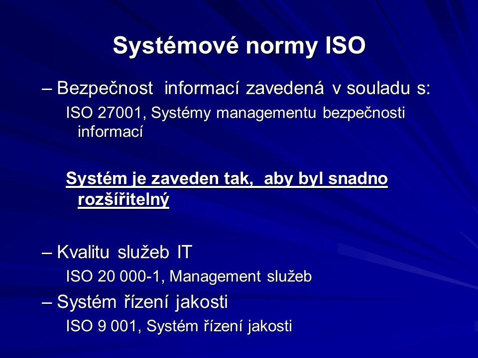 Systémové normy ISO –Bezpečnost informací zavedená v souladu s: ISO 27001, Systémy managementu bezpečnosti informací Systém je zaveden tak, aby byl snadno rozšířitelný –Kvalitu služeb IT ISO 20 000-1, Management služeb –Systém řízení jakosti ISO 9 001, Systém řízení jakosti