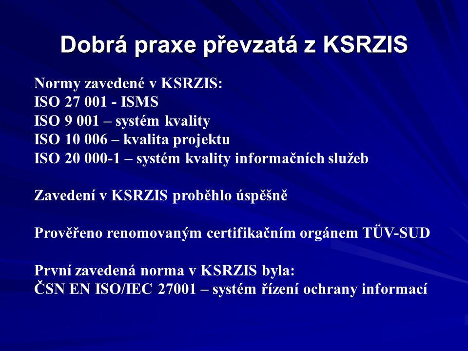 Dobrá praxe převzatá z KSRZIS Normy zavedené v KSRZIS: ISO 27 001 - ISMS ISO 9 001 – systém kvality ISO 10 006 – kvalita projektu ISO 20 000-1 – systé