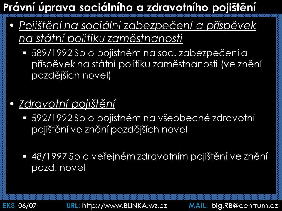 EK3 _06/07 URL: http://www.BLINKA.wz.cz MAIL: big.RB@centrum.cz Právní úprava sociálního a zdravotního pojištění Pojištění na sociální zabezpečení a příspěvek na státní politiku zaměstnanosti  589/1992 Sb o pojistném na soc.