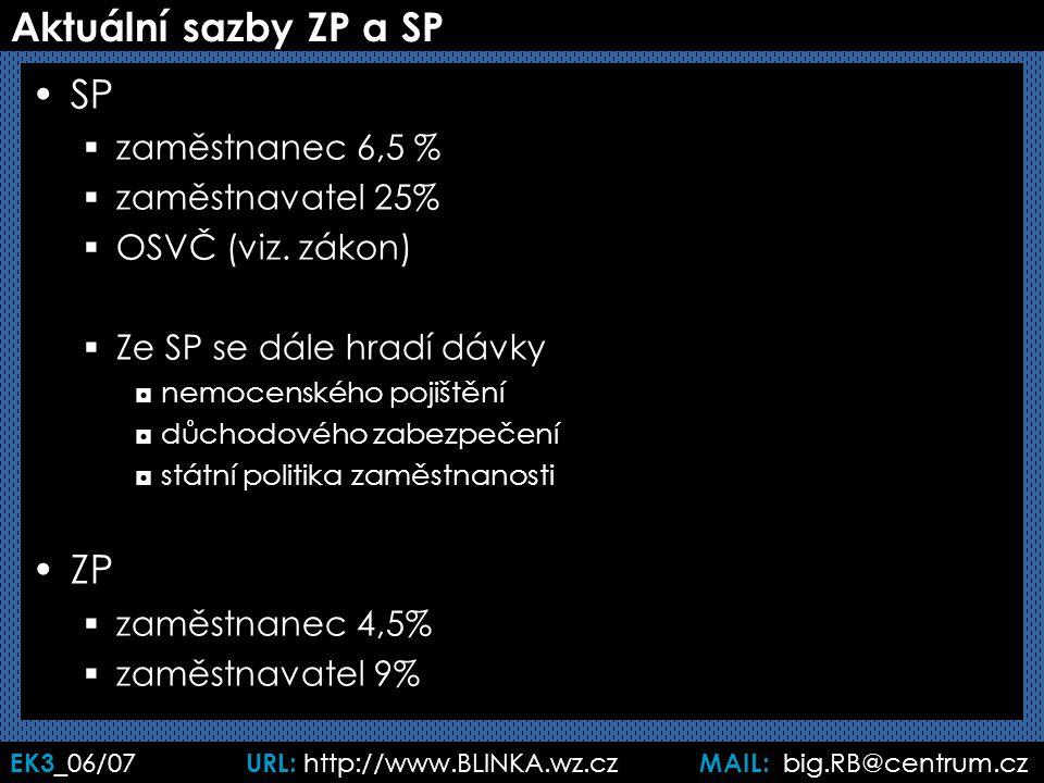 EK3 _06/07 URL: http://www.BLINKA.wz.cz MAIL: big.RB@centrum.cz Aktuální sazby ZP a SP SP  zaměstnanec 6,5 %  zaměstnavatel 25%  OSVČ (viz. zákon)