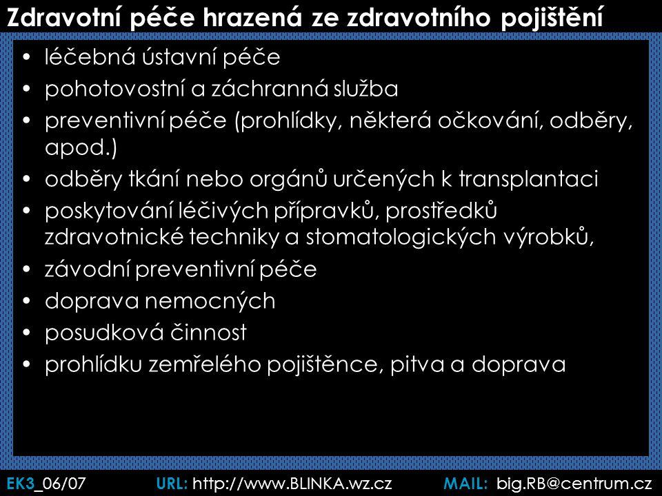 EK3 _06/07 URL: http://www.BLINKA.wz.cz MAIL: big.RB@centrum.cz Zdravotní péče hrazená ze zdravotního pojištění léčebná ústavní péče pohotovostní a záchranná služba preventivní péče (prohlídky, některá očkování, odběry, apod.) odběry tkání nebo orgánů určených k transplantaci poskytování léčivých přípravků, prostředků zdravotnické techniky a stomatologických výrobků, závodní preventivní péče doprava nemocných posudková činnost prohlídku zemřelého pojištěnce, pitva a doprava