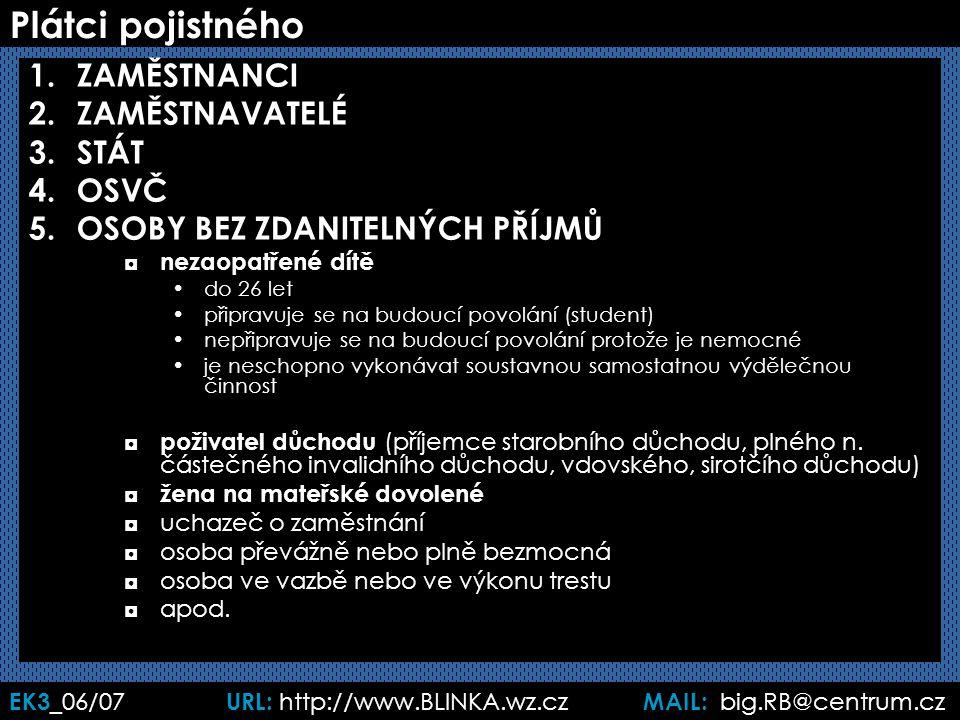 EK3 _06/07 URL: http://www.BLINKA.wz.cz MAIL: big.RB@centrum.cz Plátci pojistného 1.ZAMĚSTNANCI 2.ZAMĚSTNAVATELÉ 3.STÁT 4.OSVČ 5.OSOBY BEZ ZDANITELNÝC