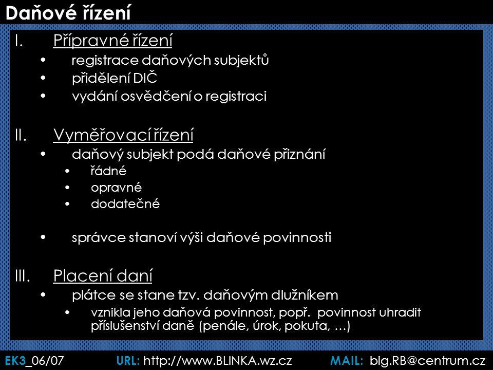 EK3 _06/07 URL: http://www.BLINKA.wz.cz MAIL: big.RB@centrum.cz Daňové řízení I.Přípravné řízení registrace daňových subjektů přidělení DIČ vydání osvědčení o registraci II.Vyměřovací řízení daňový subjekt podá daňové přiznání řádné opravné dodatečné správce stanoví výši daňové povinnosti III.Placení daní plátce se stane tzv.