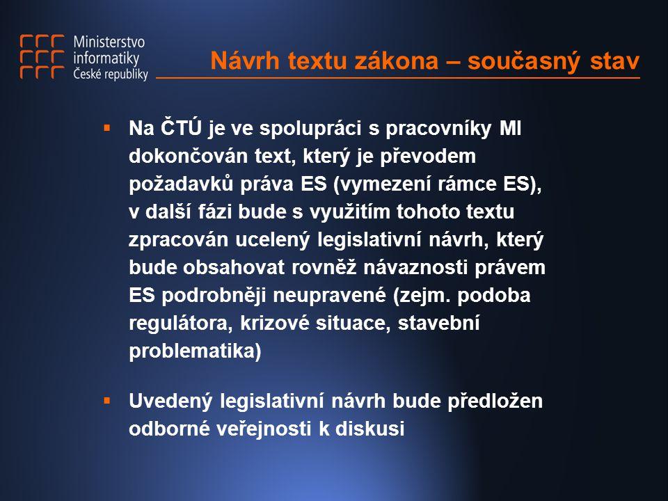 Návrh textu zákona – současný stav  Na ČTÚ je ve spolupráci s pracovníky MI dokončován text, který je převodem požadavků práva ES (vymezení rámce ES), v další fázi bude s využitím tohoto textu zpracován ucelený legislativní návrh, který bude obsahovat rovněž návaznosti právem ES podrobněji neupravené (zejm.