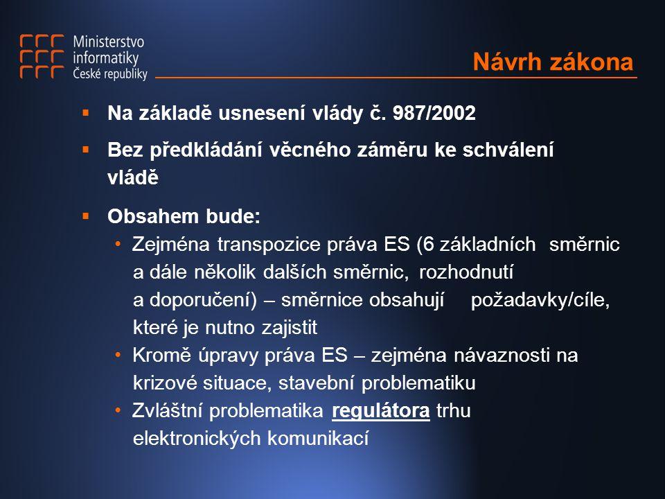 Návrh zákona  Na základě usnesení vlády č.