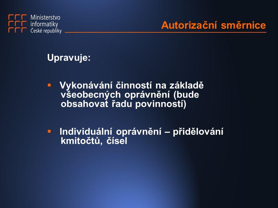 Autorizační směrnice Upravuje:  Vykonávání činností na základě všeobecných oprávnění (bude obsahovat řadu povinností)  Individuální oprávnění – přidělování kmitočtů, čísel