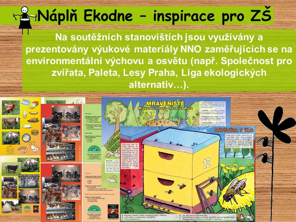 Náplň Ekodne – inspirace pro ZŠ Na soutěžních stanovištích jsou využívány a prezentovány výukové materiály NNO zaměřujících se na environmentální výchovu a osvětu (např.