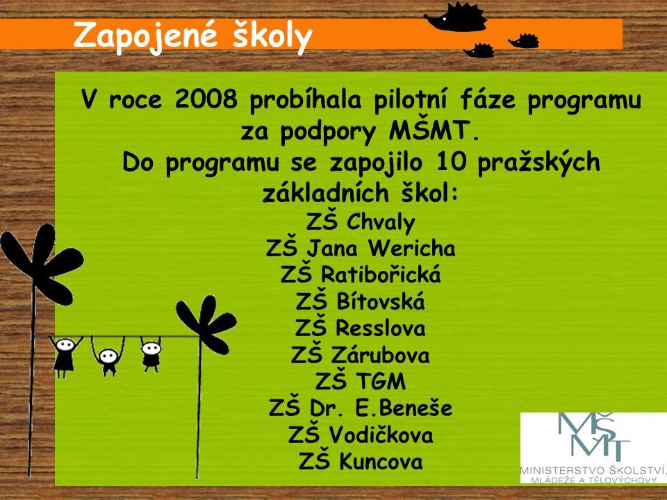 V roce 2008 probíhala pilotní fáze programu za podpory MŠMT. Do programu se zapojilo 10 pražských základních škol: ZŠ Chvaly ZŠ Jana Wericha ZŠ Ratibo