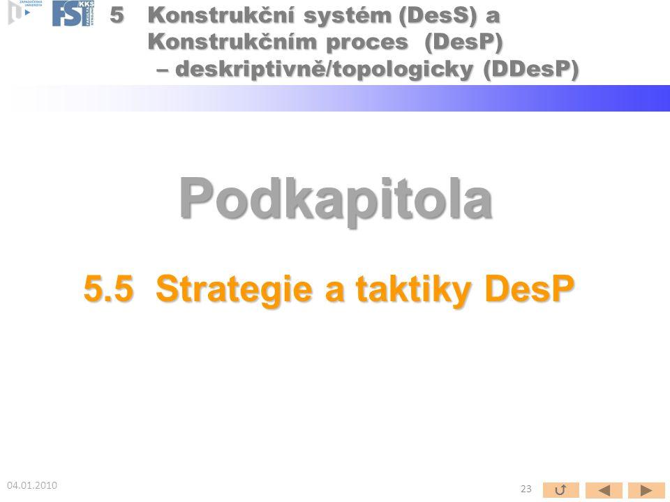 Podkapitola 5.5 Strategie a taktiky DesP 04.01.2010 23  5Konstrukční systém (DesS) a Konstrukčním proces (DesP) – deskriptivně/topologicky (DDesP) –