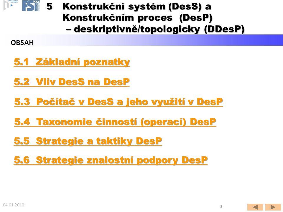 Podkapitola 5.1 Základní poznatky 04.01.2010 4  5Konstrukční systém (DesS) a Konstrukčním proces (DesP) – deskriptivně/topologicky (DDesP) – deskriptivně/topologicky (DDesP)