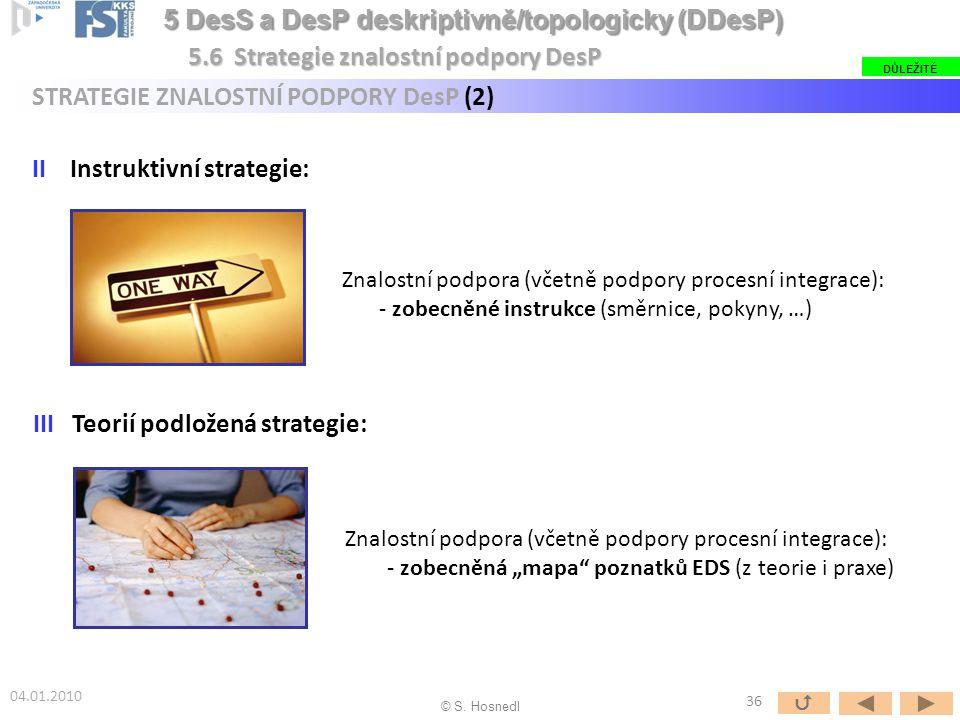 """II Instruktivní strategie: III Teorií podložená strategie: DŮLEŽITÉ 5.6 Strategie znalostní podpory DesP STRATEGIE ZNALOSTNÍ PODPORY DesP (2) 04.01.2010 Znalostní podpora (včetně podpory procesní integrace): - zobecněné instrukce (směrnice, pokyny, …) Znalostní podpora (včetně podpory procesní integrace): - zobecněná """"mapa poznatků EDS (z teorie i praxe) © S."""