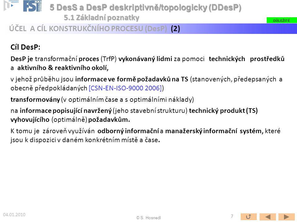 Cíl DesP: DesP je transformační proces (TrfP) vykonávaný lidmi za pomoci technických prostředků a aktivního & reaktivního okolí, v jehož průběhu jsou informace ve formě požadavků na TS (stanovených, předepsaných a obecně předpokládaných [CSN-EN-ISO-9000 2006]) transformovány (v optimálním čase a s optimálními náklady) na informace popisující navržený (jeho stavební strukturu) technický produkt (TS) vyhovujícího (optimálně) požadavkům.