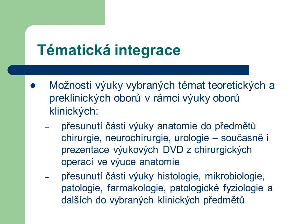 Tématická integrace Možnosti výuky vybraných témat teoretických a preklinických oborů v rámci výuky oborů klinických: – přesunutí části výuky anatomie do předmětů chirurgie, neurochirurgie, urologie – současně i prezentace výukových DVD z chirurgických operací ve výuce anatomie – přesunutí části výuky histologie, mikrobiologie, patologie, farmakologie, patologické fyziologie a dalších do vybraných klinických předmětů