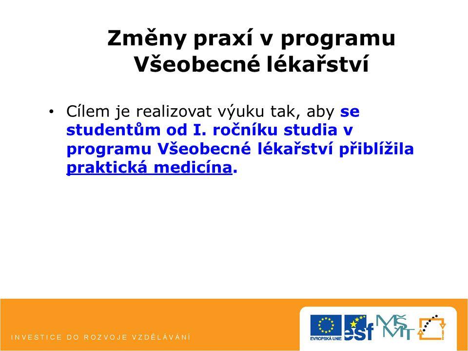 Změny praxí v programu Všeobecné lékařství Cílem je realizovat výuku tak, aby se studentům od I.
