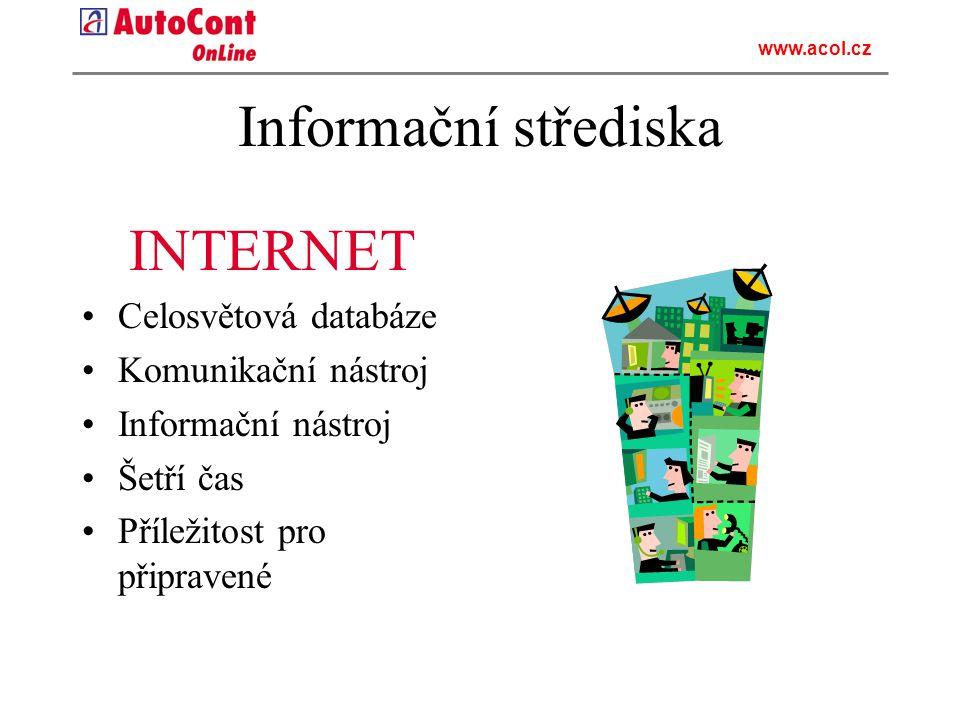 Informační střediska INTERNET Celosvětová databáze Komunikační nástroj Informační nástroj Šetří čas Příležitost pro připravené www.acol.cz