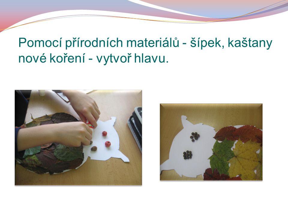 Pomocí přírodních materiálů - šípek, kaštany nové koření - vytvoř hlavu.