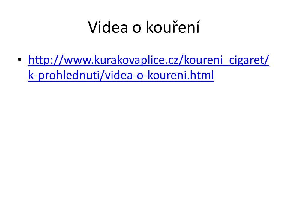 Videa o kouření http://www.kurakovaplice.cz/koureni_cigaret/ k-prohlednuti/videa-o-koureni.html http://www.kurakovaplice.cz/koureni_cigaret/ k-prohled