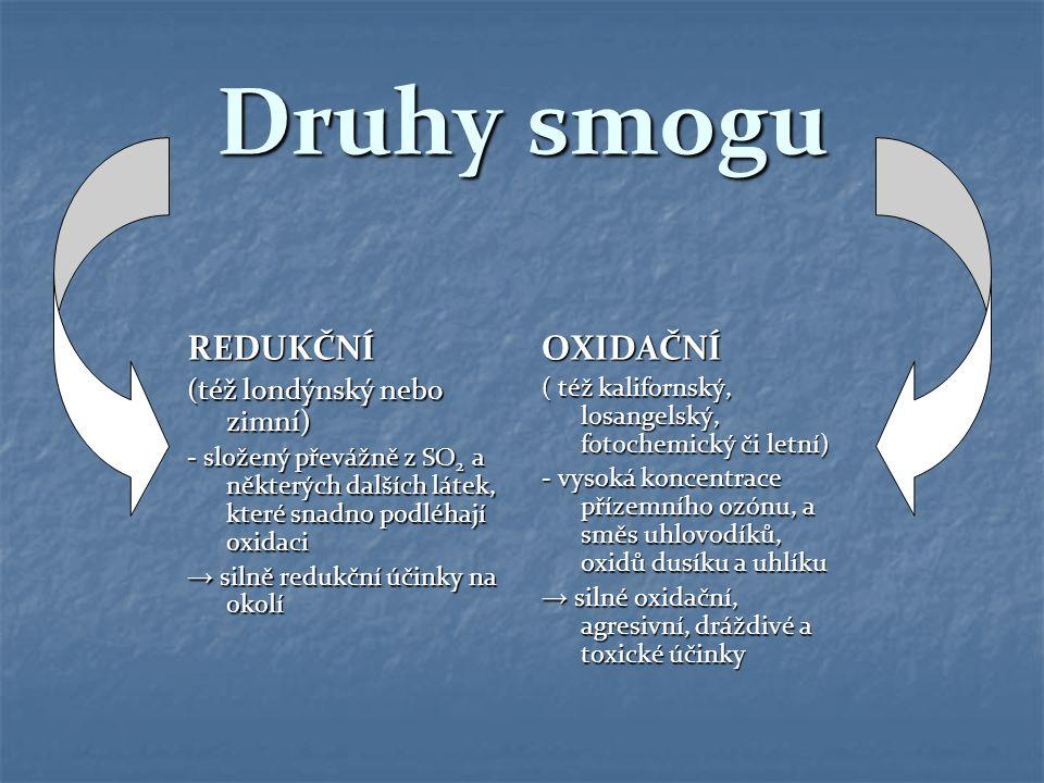 Druhy smogu REDUKČNÍ (též londýnský nebo zimní) - složený převážně z SO 2 a některých dalších látek, které snadno podléhají oxidaci → silně redukční ú