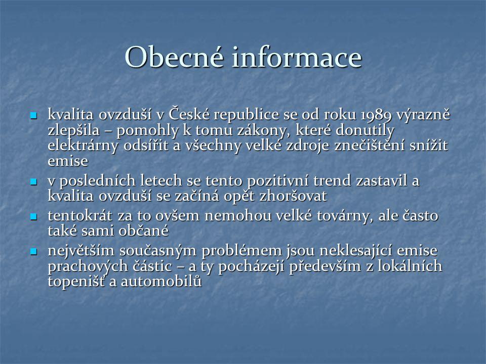 Obecné informace kvalita ovzduší v České republice se od roku 1989 výrazně zlepšila – pomohly k tomu zákony, které donutily elektrárny odsířit a všech