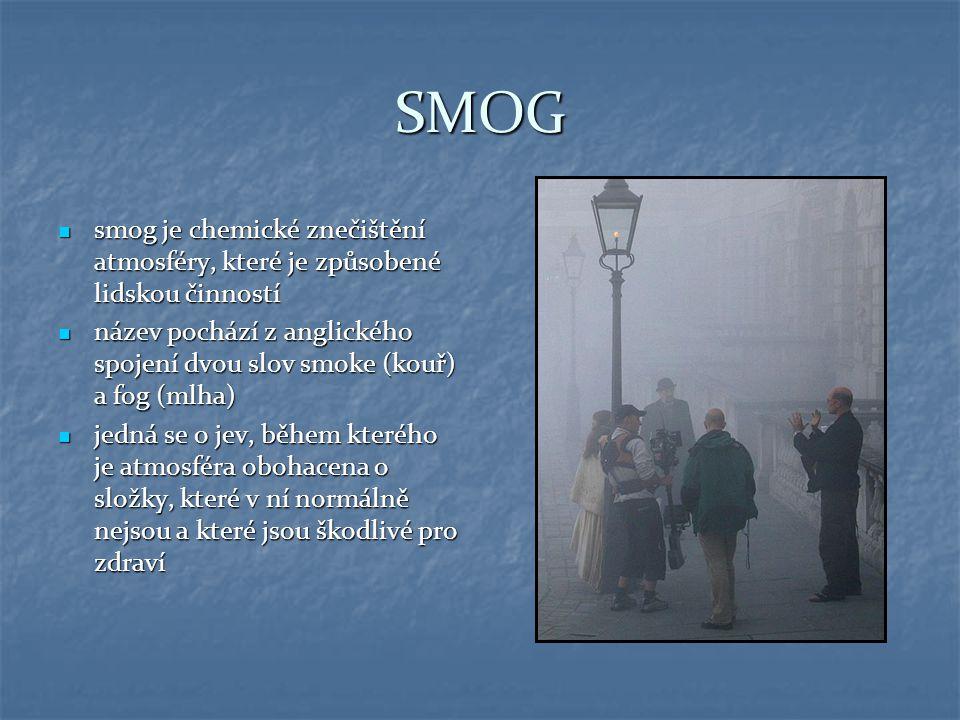 SMOG smog je chemické znečištění atmosféry, které je způsobené lidskou činností smog je chemické znečištění atmosféry, které je způsobené lidskou činn