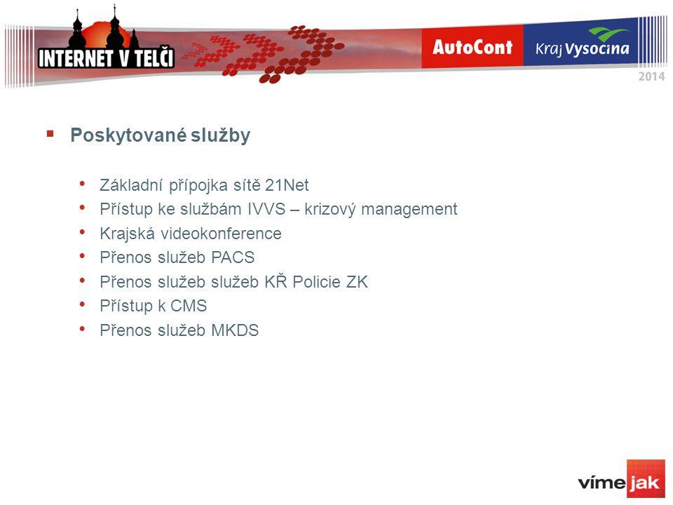  Poskytované služby Základní přípojka sítě 21Net Přístup ke službám IVVS – krizový management Krajská videokonference Přenos služeb PACS Přenos služeb služeb KŘ Policie ZK Přístup k CMS Přenos služeb MKDS