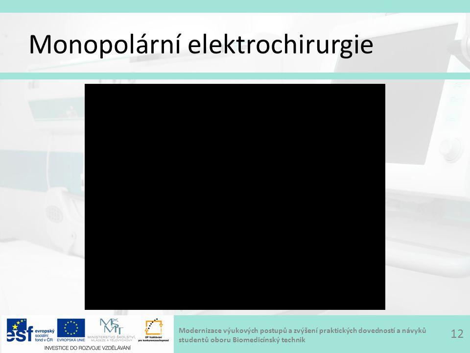 Modernizace výukových postupů a zvýšení praktických dovedností a návyků studentů oboru Biomedicínský technik Monopolární elektrochirurgie 12