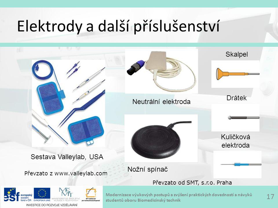 Modernizace výukových postupů a zvýšení praktických dovedností a návyků studentů oboru Biomedicínský technik Elektrody a další příslušenství 17 Převzato od SMT, s.r.o.