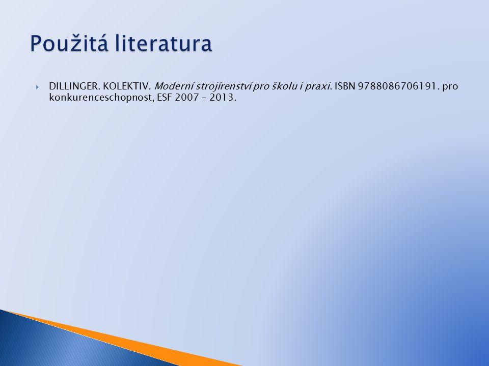  DILLINGER. KOLEKTIV. Moderní strojírenství pro školu i praxi. ISBN 9788086706191. pro konkurenceschopnost, ESF 2007 – 2013.