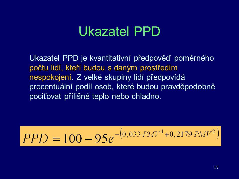 17 Ukazatel PPD Ukazatel PPD je kvantitativní předpověď poměrného počtu lidí, kteří budou s daným prostředím nespokojení. Z velké skupiny lidí předpov