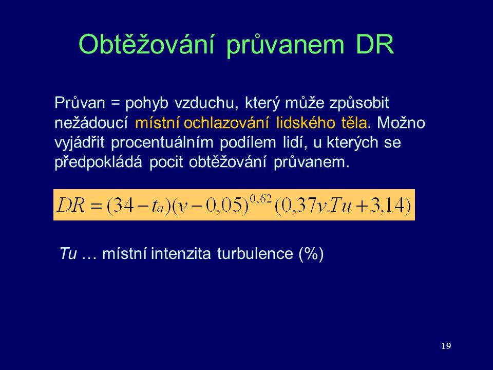 19 Obtěžování průvanem DR Průvan = pohyb vzduchu, který může způsobit nežádoucí místní ochlazování lidského těla. Možno vyjádřit procentuálním podílem