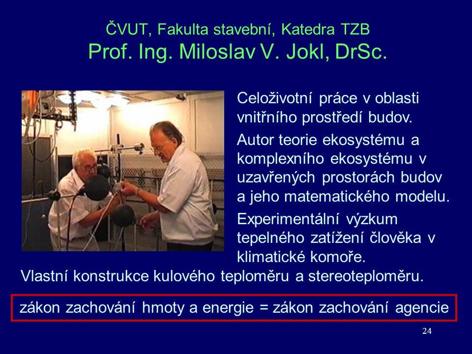 24 ČVUT, Fakulta stavební, Katedra TZB Prof. Ing. Miloslav V. Jokl, DrSc. Celoživotní práce v oblasti vnitřního prostředí budov. Autor teorie ekosysté