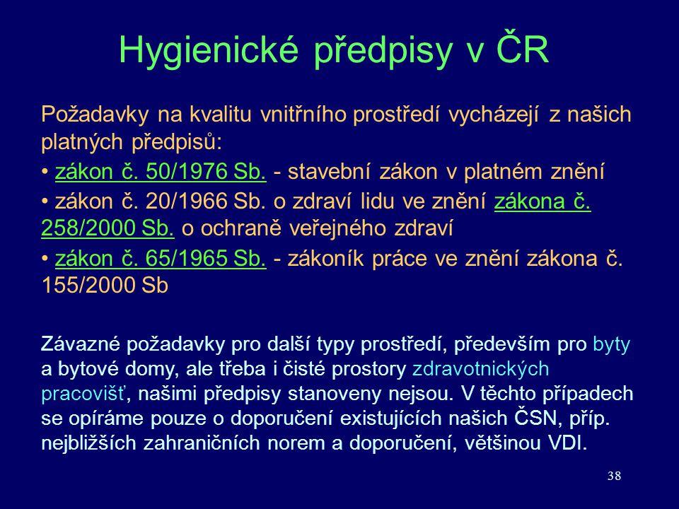 38 Hygienické předpisy v ČR Požadavky na kvalitu vnitřního prostředí vycházejí z našich platných předpisů: zákon č. 50/1976 Sb. - stavební zákon v pla