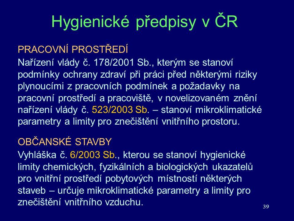 39 Hygienické předpisy v ČR PRACOVNÍ PROSTŘEDÍ Nařízení vlády č. 178/2001 Sb., kterým se stanoví podmínky ochrany zdraví při práci před některými rizi