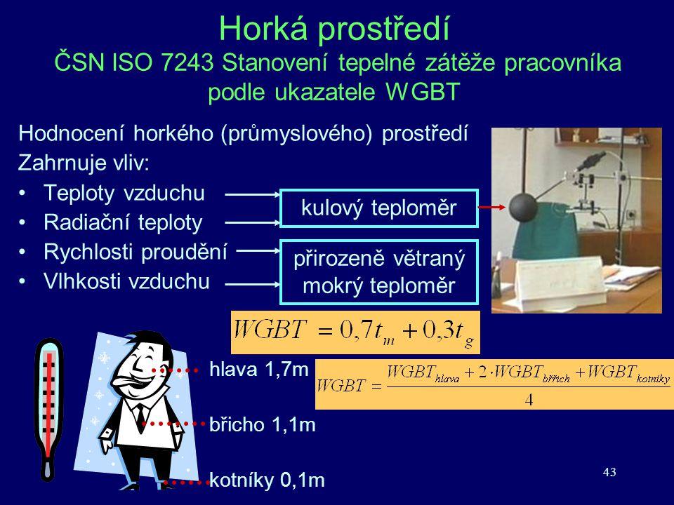 43 Horká prostředí ČSN ISO 7243 Stanovení tepelné zátěže pracovníka podle ukazatele WGBT Hodnocení horkého (průmyslového) prostředí Zahrnuje vliv: Tep