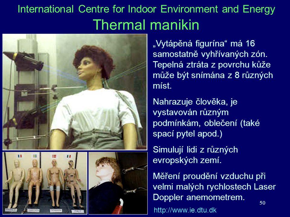 """50 International Centre for Indoor Environment and Energy Thermal manikin """"Vytápěná figurína"""" má 16 samostatně vyhřívaných zón. Tepelná ztráta z povrc"""