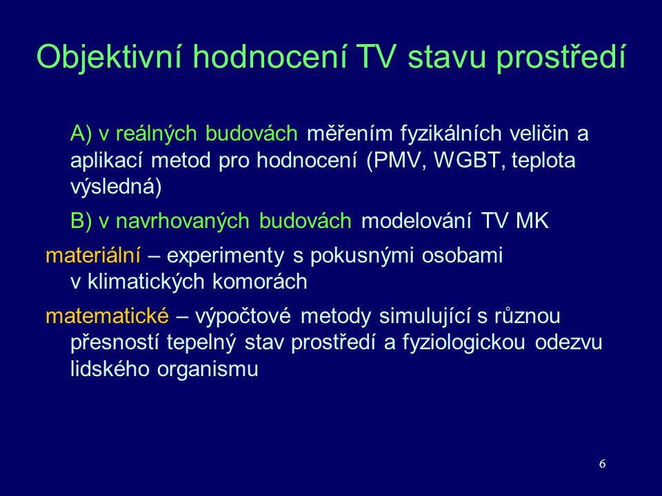 6 Objektivní hodnocení TV stavu prostředí A) v reálných budovách měřením fyzikálních veličin a aplikací metod pro hodnocení (PMV, WGBT, teplota výsled