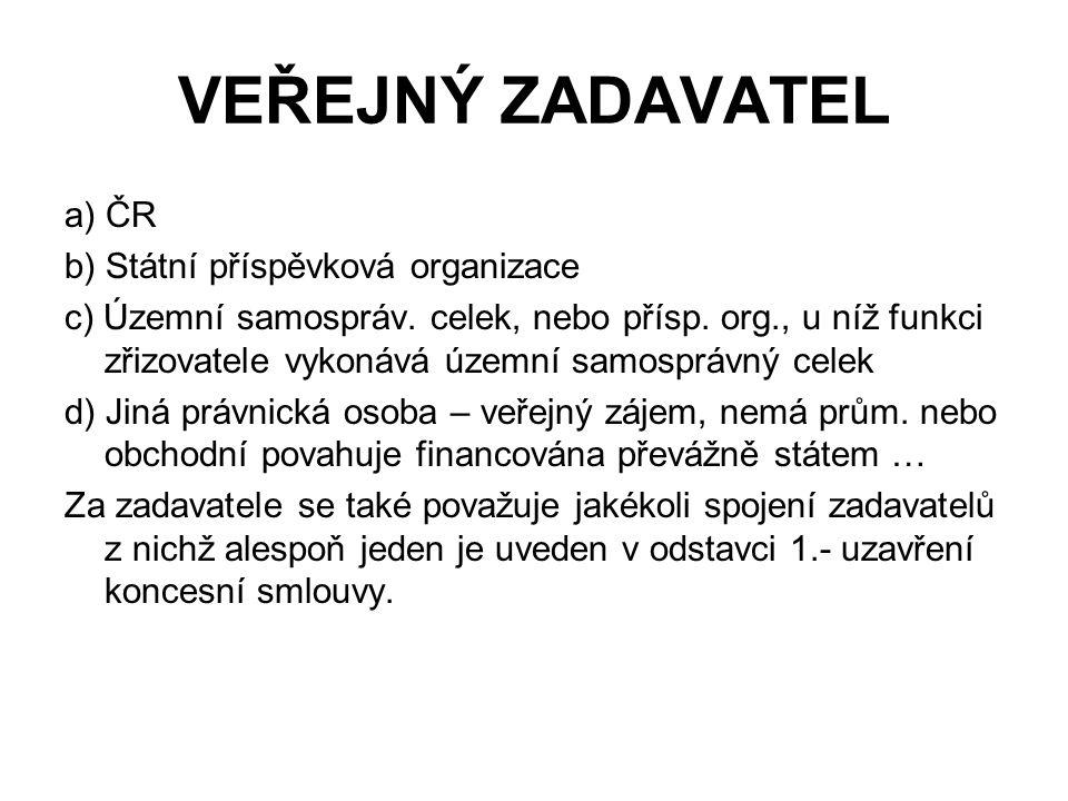 VEŘEJNÝ ZADAVATEL a) ČR b) Státní příspěvková organizace c) Územní samospráv.