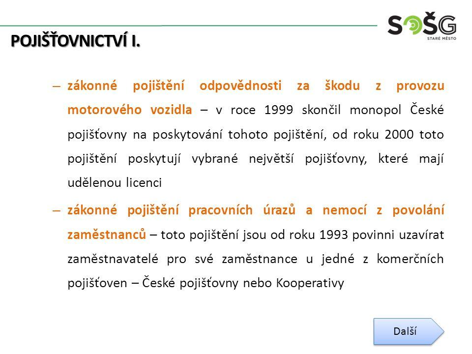 POJIŠŤOVNICTVÍ I. – zákonné pojištění odpovědnosti za škodu z provozu motorového vozidla – v roce 1999 skončil monopol České pojišťovny na poskytování