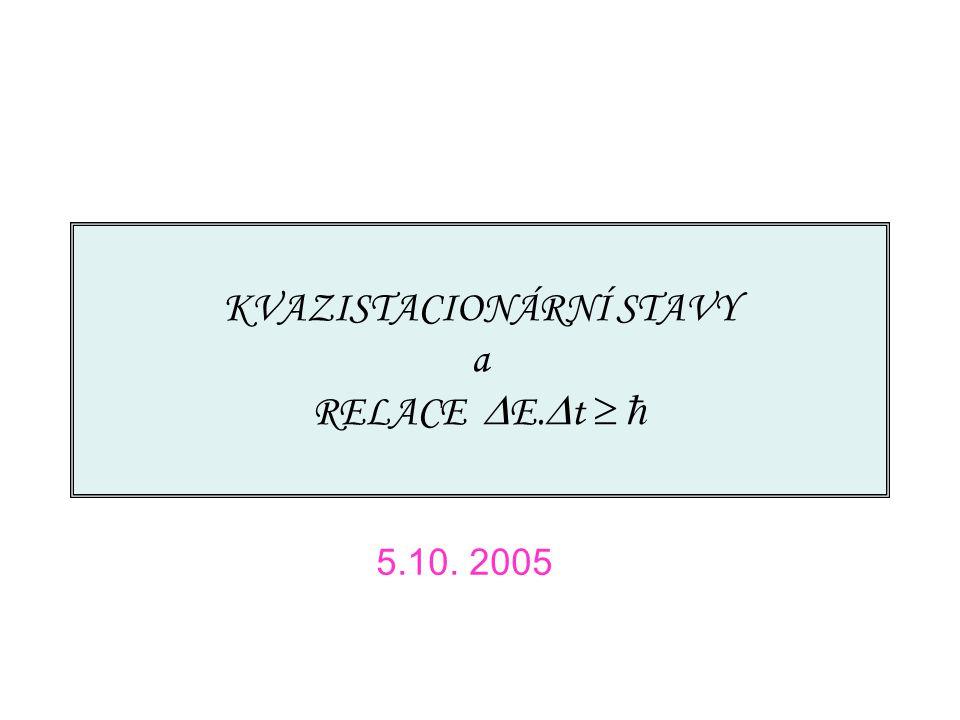 5.10.2005 Seminář o základech kvantové fyziky Brno 2005/6 32 Dlouhé časy závisí jen na, ne na specifických podrobnostech Hamiltoniánu/vln.