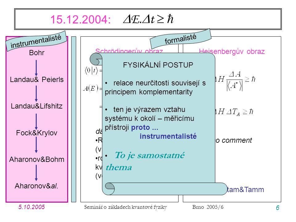 5.10.2005 Seminář o základech kvantové fyziky Brno 2005/6 37 Modelové příklady: úvodní poznámky JEDNOTKY … vlastně na nich nezáleží, ale pro názornost volím jednotky vhodné pro GF v CM energie1 eV 1,602  10 -19 J čas1 fs 1,000  10 -15 s  0,6582~ eV.fs 1,055  10 -34 J.s