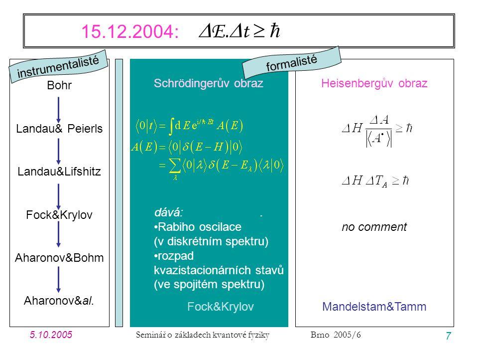 5.10.2005 Seminář o základech kvantové fyziky Brno 2005/6 38 Modelové příklady: úvodní poznámky JEDNOTKY … vlastně na nich nezáleží, ale pro názornost volím jednotky vhodné pro GF v CM energie1 eV 1,602  10 -19 J čas1 fs 1,000  10 -15 s  0,6582~ eV.fs 1,055  10 -34 J.s délka 1 nm 1,000  10 -9 m c 299,8 nm/fs 2,998  10 8 m/s  1/137,0 meme 5,685 9,109  10 -31 kg e 2 1,440 2,306  10 -34 J.m