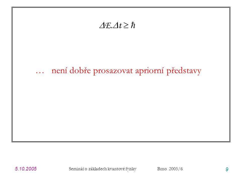 5.10.2005 Seminář o základech kvantové fyziky Brno 2005/6 40 Modelové příklady: přehled Postup: zvolíme modelovou spektrální hustotu A(E).