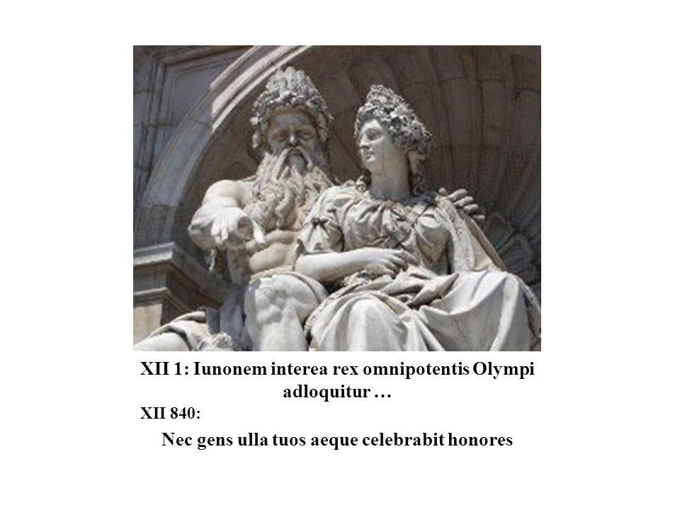 XII 1: Iunonem interea rex omnipotentis Olympi adloquitur … XII 840: Nec gens ulla tuos aeque celebrabit honores