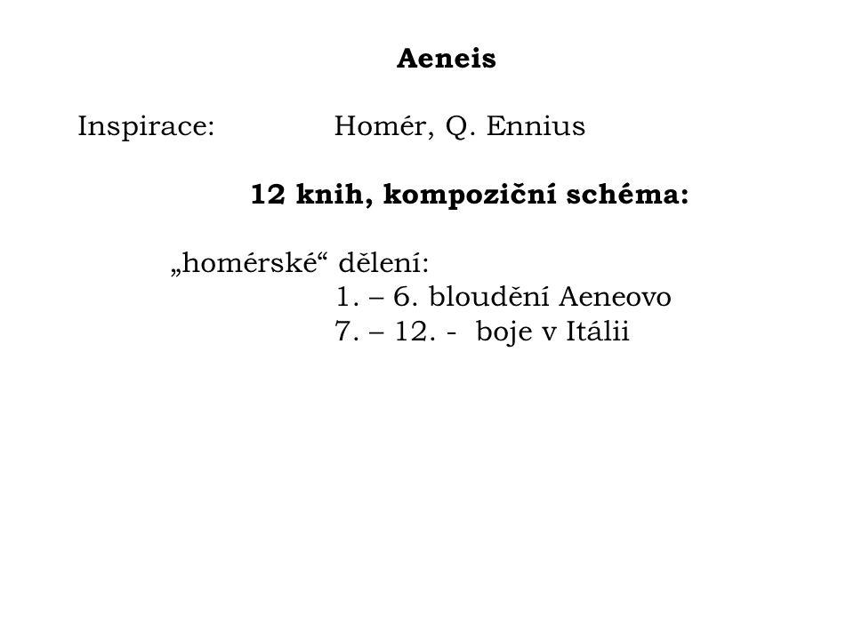 """Aeneis Inspirace: Homér, Q. Ennius 12 knih, kompoziční schéma: """"homérské"""" dělení: 1. – 6. bloudění Aeneovo 7. – 12. - boje v Itálii"""