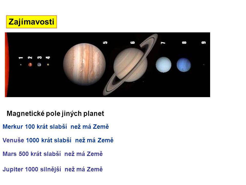 Zajímavosti Magnetické pole jiných planet Merkur 100 krát slabší než má Země Mars 500 krát slabší než má Země Venuše 1000 krát slabší než má Země Jupi