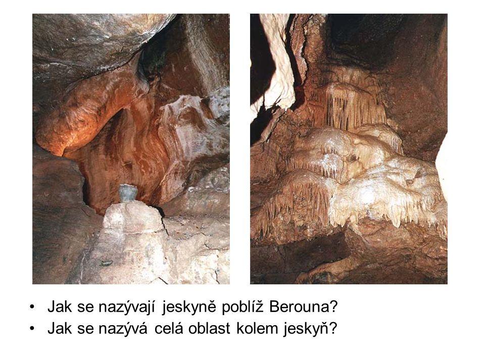 Jak se nazývají jeskyně poblíž Berouna? Jak se nazývá celá oblast kolem jeskyň?
