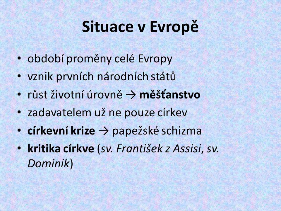 Situace v Evropě období proměny celé Evropy vznik prvních národních států růst životní úrovně → měšťanstvo zadavatelem už ne pouze církev církevní kri