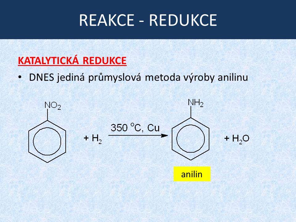 REAKCE - REDUKCE KATALYTICKÁ REDUKCE DNES jediná průmyslová metoda výroby anilinu anilin