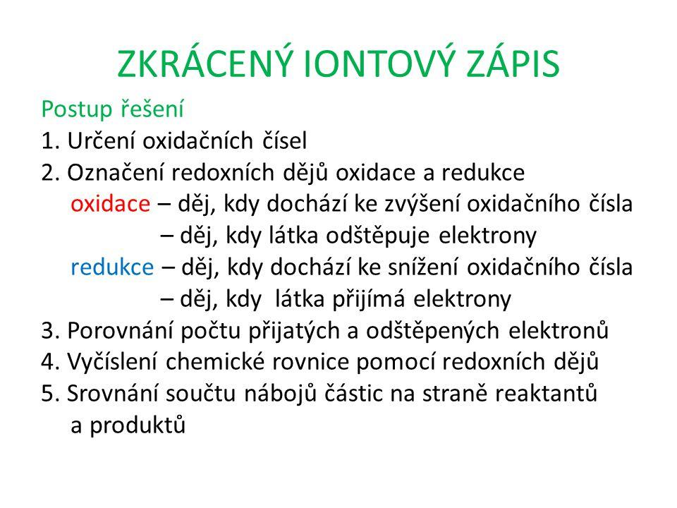 ZKRÁCENÝ IONTOVÝ ZÁPIS Postup řešení 1. Určení oxidačních čísel 2.