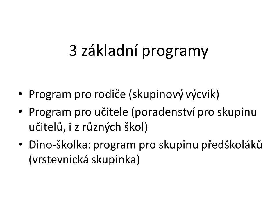 3 základní programy Program pro rodiče (skupinový výcvik) Program pro učitele (poradenství pro skupinu učitelů, i z různých škol) Dino-školka: program